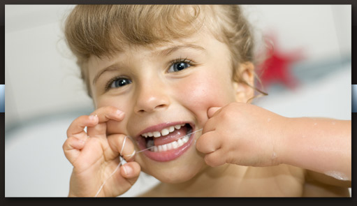 child flossing